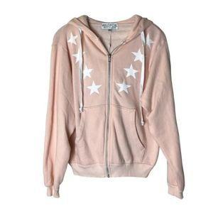 WILDFOX Pink Cosmos Star Hoodie Zip Up Jacket